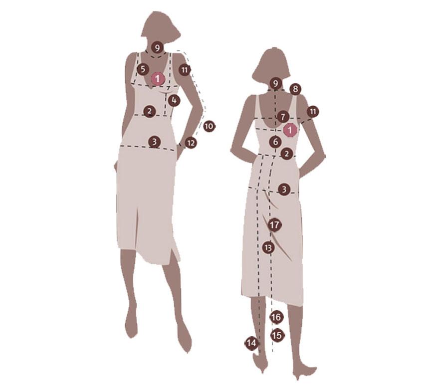 Kleidergröße Maßnehmen für Damenmode